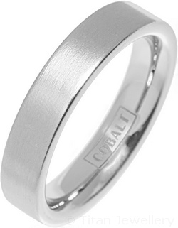 Cobalt 5mm Brushed Flat Wedding Ring