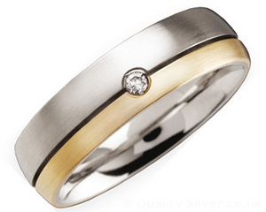 6mm Titanium Diamond and 18ct Gold Ring