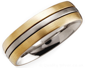 6mm Three Stripe Titanium and 18ct Gold Ring