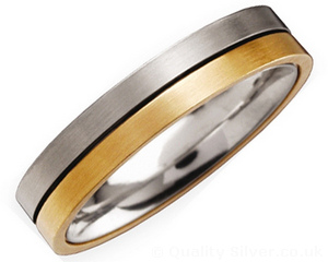 4mm Half Titanium and 18ct Gold Ring