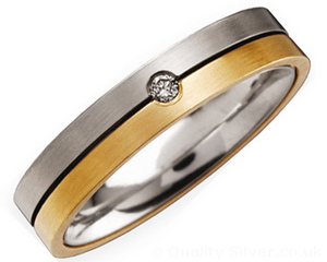 4mm Titanium Diamond and 18ct Gold Ring