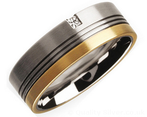 8mm Titanium Diamond and 18ct Gold Grooved Ring