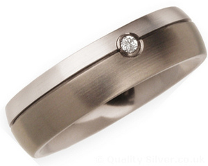 6mm Titanium, Diamond and Platinum Ring