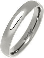 4mm Court Style Polished Titanium Wedding Ring