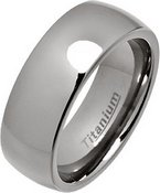 8mm Court Style Polished Titanium Wedding Ring