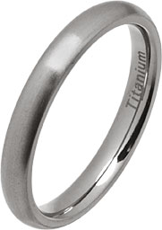 3mm Court Style Brushed Titanium Wedding Ring