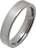 5mm Flat Style Polished Titanium Wedding Ring