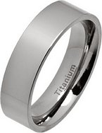 6mm Polished Flat Titanium Wedding Ring