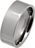 8mm Polished Flat Titanium Wedding Ring