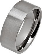 8mm Brushed Flat Titanium Wedding Ring