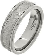 7mm Mens Bark Pattern Titanium Ring