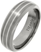 7mm Mens Titanium Silver Inlay Court Ring