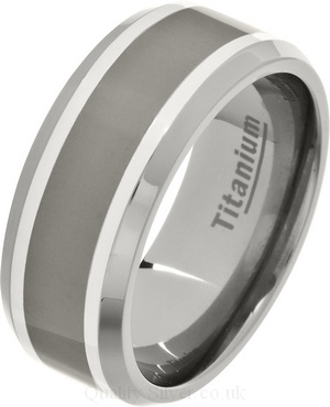 9mm Mens Polished Titanium Silver Inlay Chamfered Ring