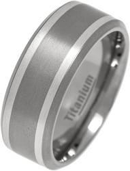 9mm Mens Brushed Titanium Silver Inlay Chamfered Ring