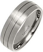 7mm 2 Lines Brushed Titanium Court Ring