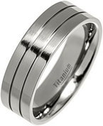 7mm Lathed Lines Brushed Titanium Ring