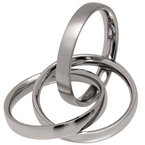 1 Satin 2 Polished 5mm Titanium Russian Wedding Ring