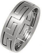 7mm Mens Greek Key Titanium Puzzle Ring