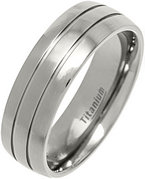7mm 2 Lines Polished Titanium Court Ring