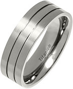 7mm Lathed Lines Polished Titanium Ring