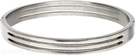 Small Titanium Grooved Hinged Bangle