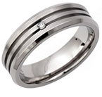 6mm Titanium and Diamond Grooved Ring