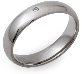 5mm Titanium and Diamond Court Ring
