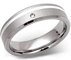 6mm Titanium Silver and Diamond Ring