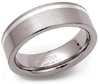 7mm Titanium Silver Line Ring