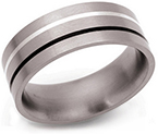 8mm Titanium Silver and Black Enamel Ring