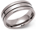8mm Wide Tramline Titanium Ring