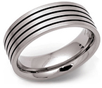 8mm Titanium and Enamel Striped Ring