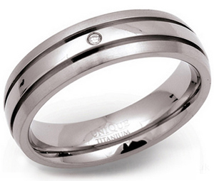 6mm Diamond set Titanium Tramline Ring