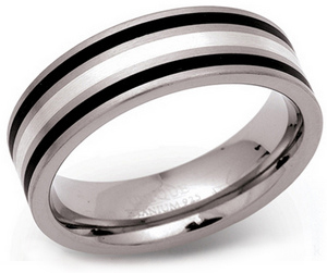 7mm Titanium Silver and Enamel Striped Ring