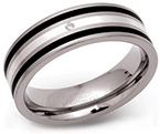 7mm Diamond set Striped Titanium Ring