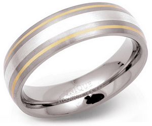 6.5mm Titanium, Silver and 14ct Gold Ring