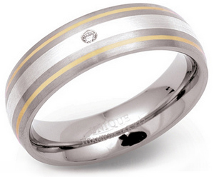 6.5mm Titanium Ring Diamond Silver Gold