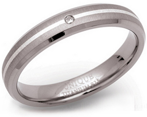 4mm Titanium Silver and Diamond Ring