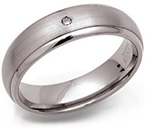 6mm Satin Titanium and Diamond Ring