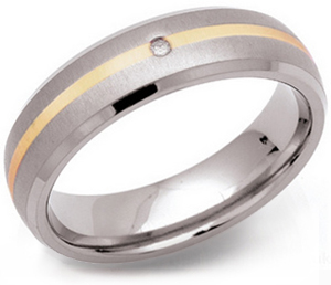 6mm Titanium Ring 14ct Gold Diamond
