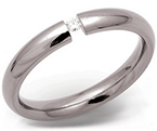 3.5mm Titanium and Diamond Tension Set Ring