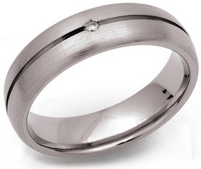 6mm Grooved Titanium and Diamond Ring