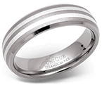 6mm Titanium Silver Duo Stripes Ring