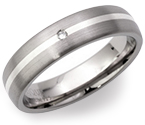 5mm Titanium, Silver and Diamond Ring