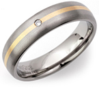 5mm Titanium, 14ct Gold and Diamond Ring