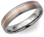 5mm Titanium and 14ct Rose Gold Ring
