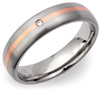 5mm Titanium, 14ct Rose Gold and Diamond Ring
