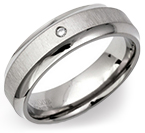 6mm Titanium Diamond Chamfered Ring