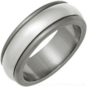 Ti2 8mm Titanium and Silver Striped Inlay Ring