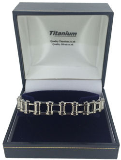 Mens Bike Link Titanium Bracelet will arrive in a Titanium branded Silver Ring box